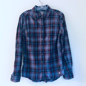 Carhartt Blue and Cranberry Plaid Button Up